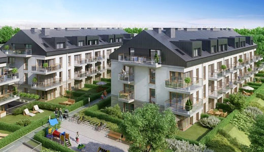widok z drona na osiedle, gdzie znajduje się mieszkanie do sprzedaży Wrocław Krzyki