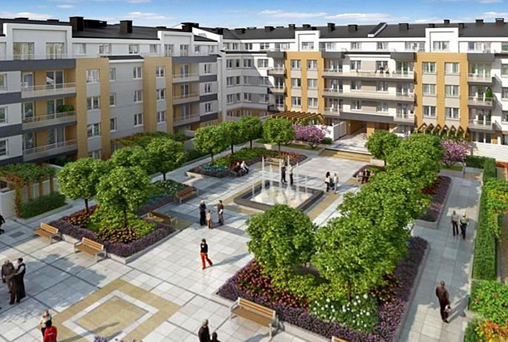 zdjęcie prezentuje malownicze osiedle, na którym mieści się oferowane na sprzedaż mieszkanie Wrocław Krzyki