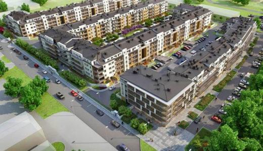 rzut z dużej wysokości na osiedle, na którym znajduje się oferowane do sprzedaży mieszkanie Wrocław Krzyki