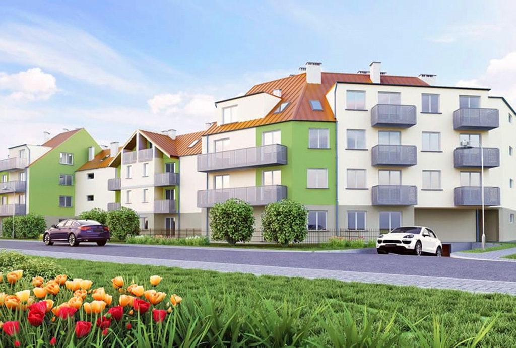 widok od strony ulicy osiedla, na którym znajduje się oferowane na sprzedaż mieszkanie Wrocław Psie Pole