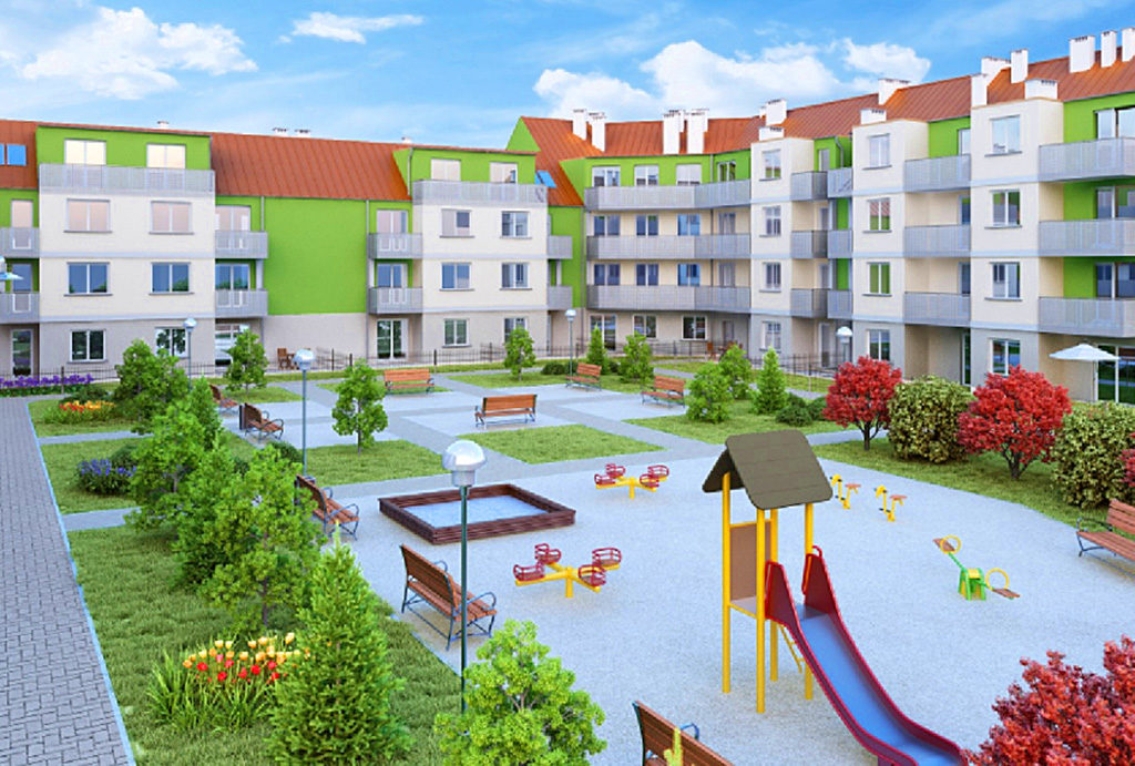 na zdjęciu widzimy funkcjonalny plac zabaw dla dzieci obok budynku, w którym usytuowane jest mieszkanie Wrocław Psie Pole na sprzedaż