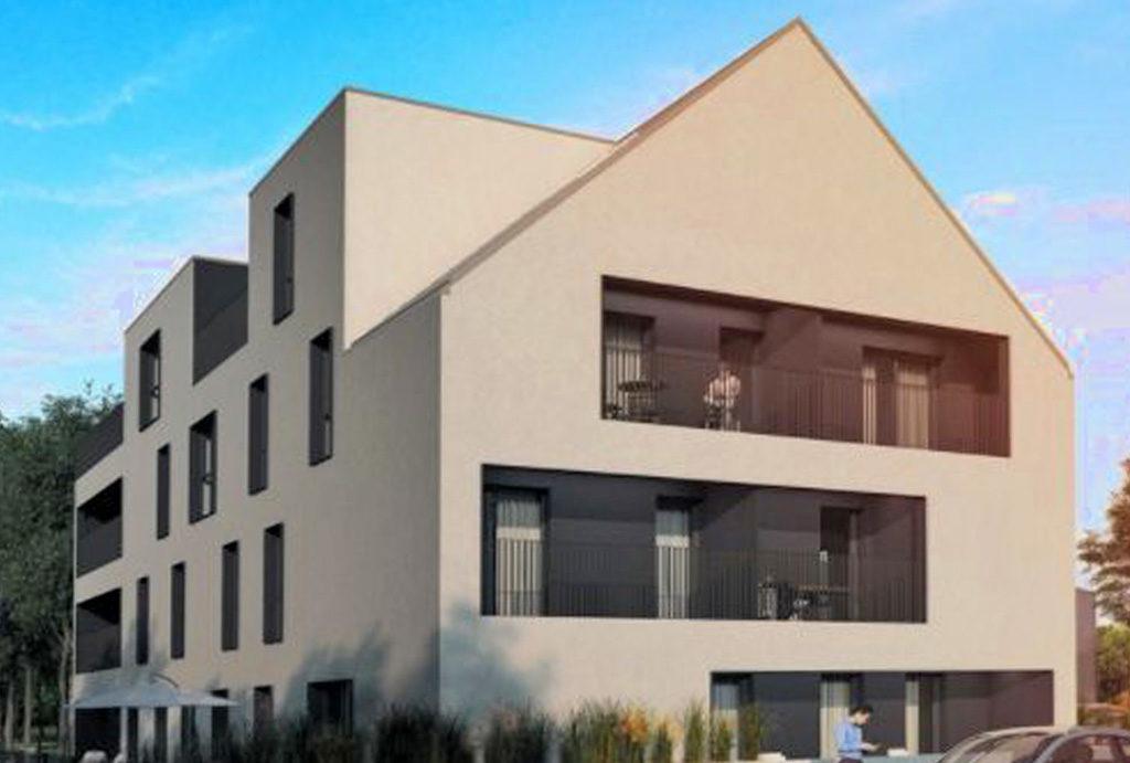 widok od strony ulicy na apartamentowiec, w którym znajduje się oferowane na sprzedaż mieszkanie Wrocław Siechnice