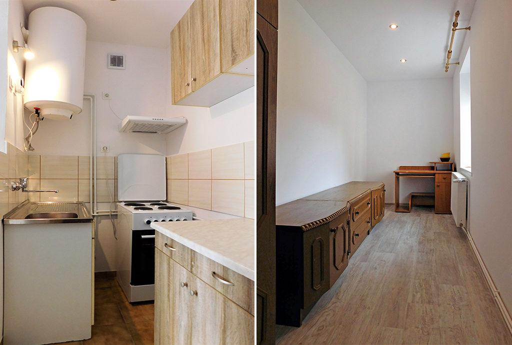 funkcjonalnie umeblowana kuchnia i łazienka w mieszkaniu do wynajęcia Wrocław okolice