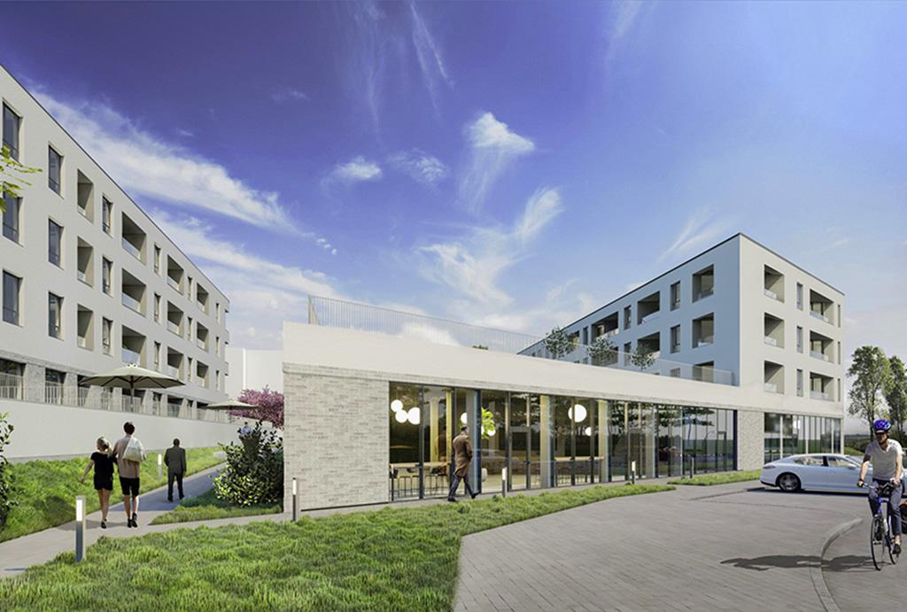 wizualizacja od strony ulicy prezentująca budynek, w którym mieści się oferowane do sprzedaży mieszkanie Wrocław Krzyki