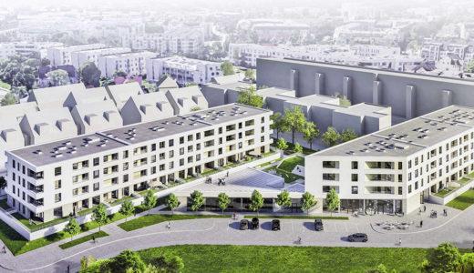 widok z lotu ptaka na osiedle, na którym znajduje się oferowane do sprzedaży mieszkanie Wrocław Krzyki