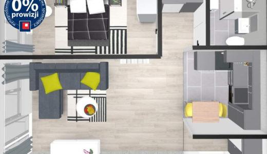 rzut z góry na rozkład pokoi w mieszkaniu na sprzedaż Wrocław Krzyki