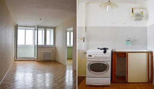 na zdjęciu salon oraz kuchnia w mieszkaniu na sprzedaż Wrocław Krzyki