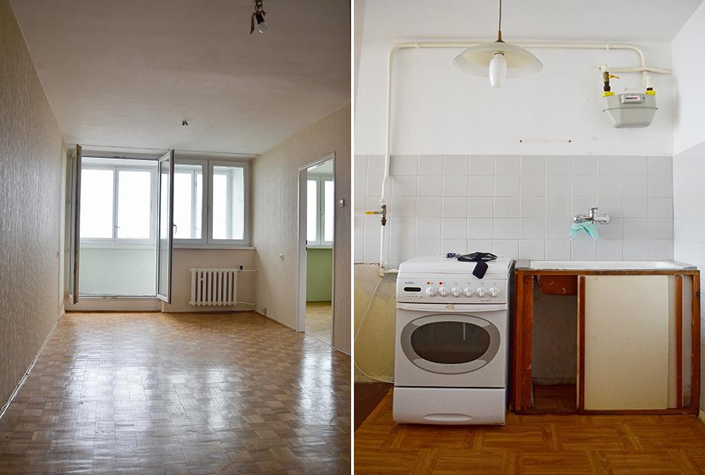 po lewej salon, po prawej kuchnia w mieszkaniu do sprzedaży Wrocław Krzyki