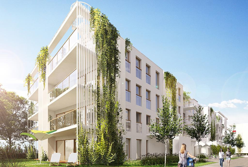 zbliżenie na apartamentowiec, w którym mieści się oferowane do sprzedaży mieszkanie Wrocław Maślice