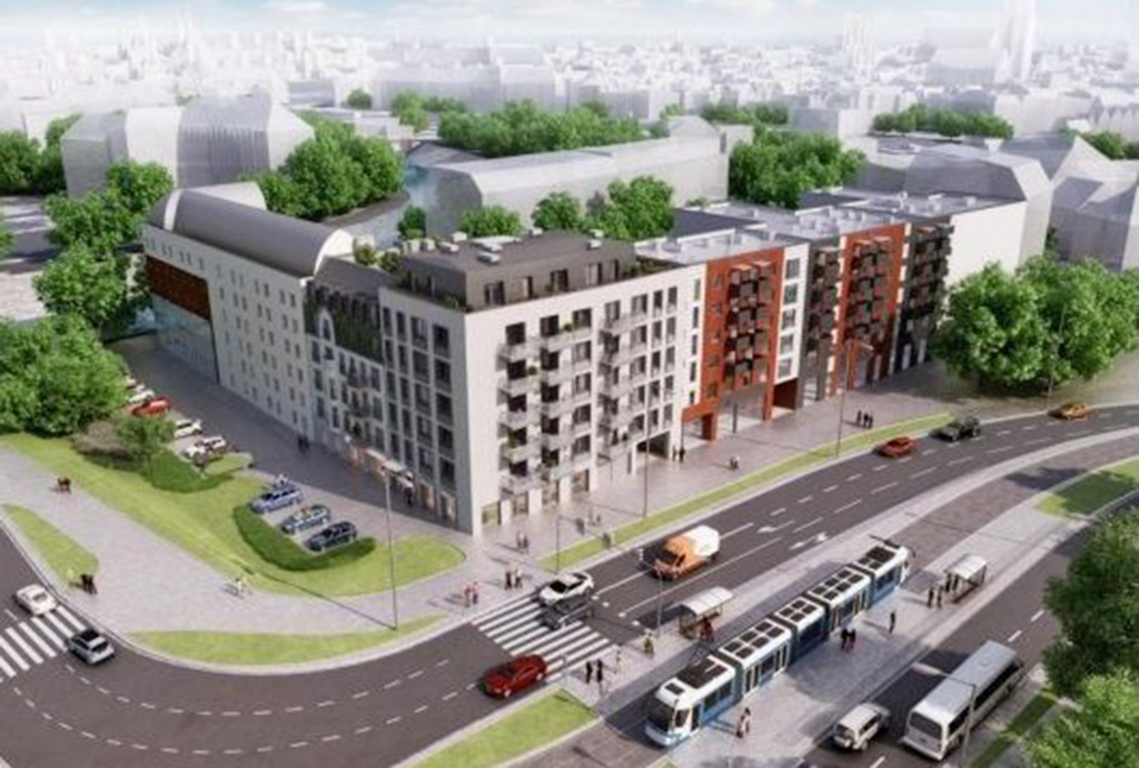 widok z lotu ptaka na osiedle, gdzie mieści się oferowane do sprzedaży mieszkanie Wrocław Stare Miasto