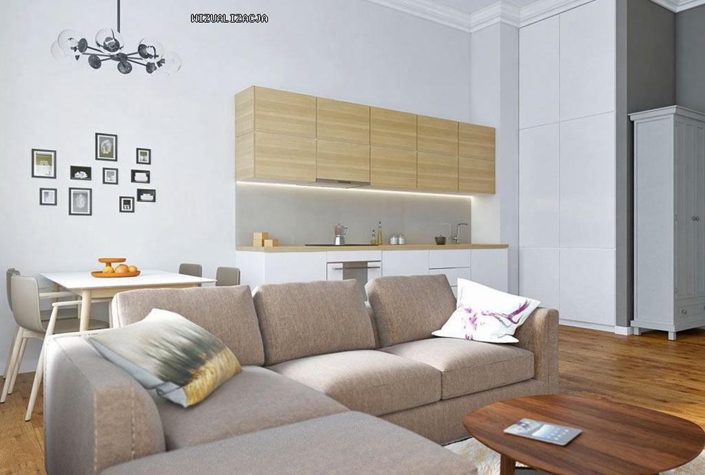elegancki pokój dzienny w mieszkaniu na sprzedaż Wrocław