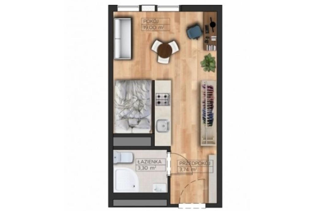 widok z góry obrazujący funkcjonalny rozkład pomieszczeń w mieszkaniu do sprzedaży Wrocław