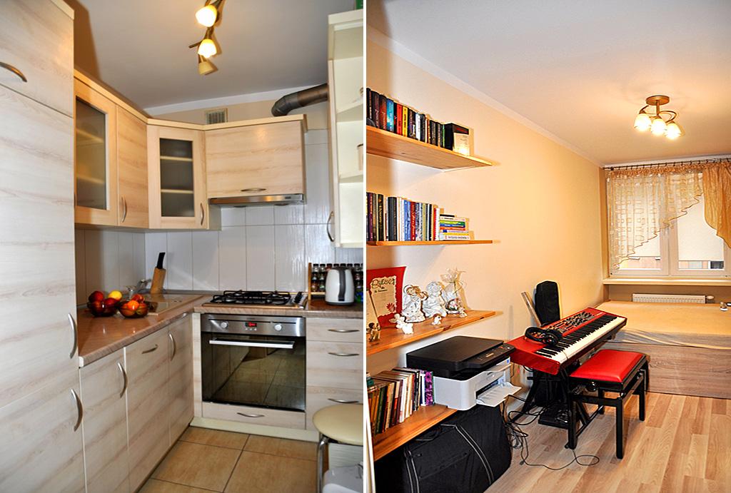po lewej kuchnia, po prawej pokój dla dziecka w mieszkaniu do sprzedaży Wrocław (okolice, Oława)