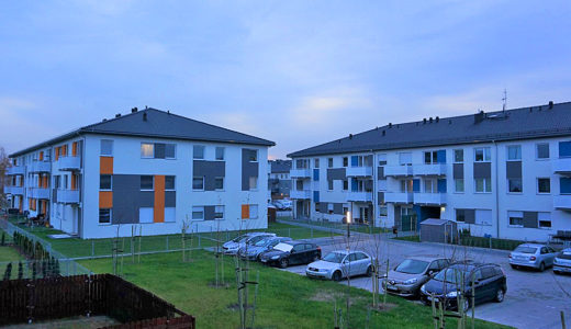 rzut na całe osiedle, na którym mieści się oferowane do wynajęcia mieszkanie Wrocław Kiełczów