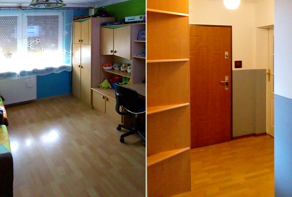 po lewej pokój dla dziecka, po prawej przedpokój w mieszkaniu do sprzedaży Wrocław (okolice)