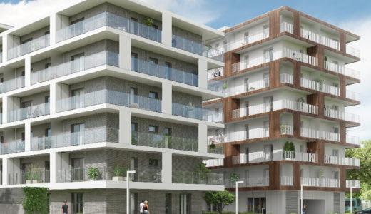 widok od strony osiedla na apartamentowiec, w którym mieści się oferowane na sprzedaż mieszkanie Wrocław