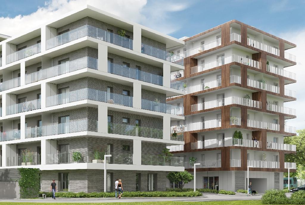 rzut od strony osiedla na budynek , gdzie znajduje się oferowane do sprzedaży mieszkanie Wrocław