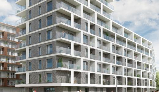 widok od strony z ulicy na apartamentowiec, gdzie mieści się mieszkanie na sprzedaż Wrocław
