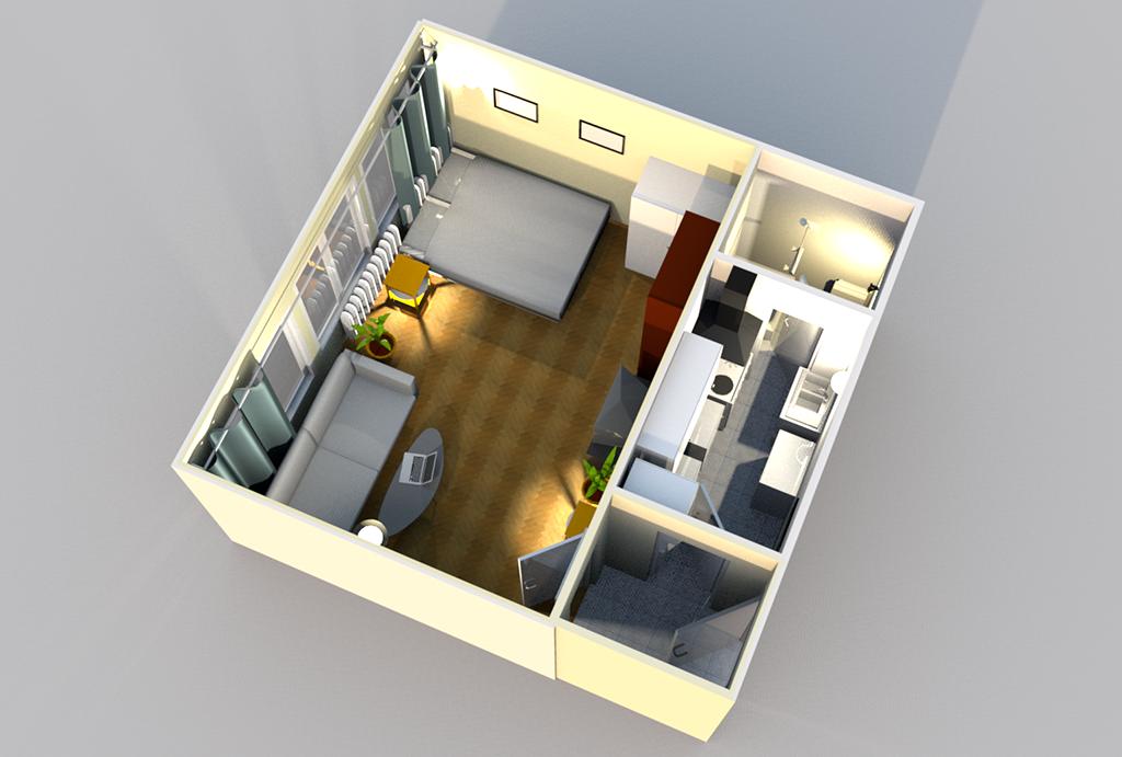 rzut z góry na układ pomieszczeń w mieszkaniu do sprzedaży Wrocław Krzyki
