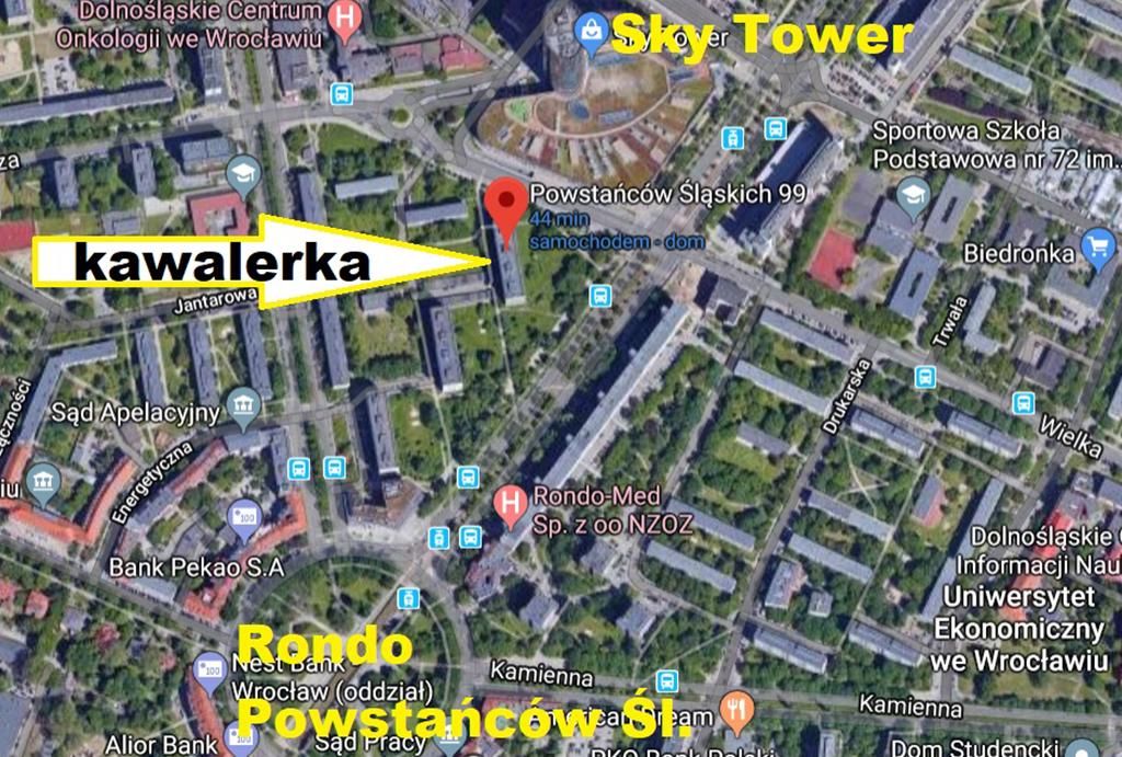 widok z lotu ptaka na lokalizację na planie miasta Wrocławia tego mieszkania do sprzedaży