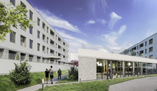 widok od strony ulicy na apartamentowiec, w którym znajduje się oferowane na sprzedaż mieszkanie Wrocław Krzyki