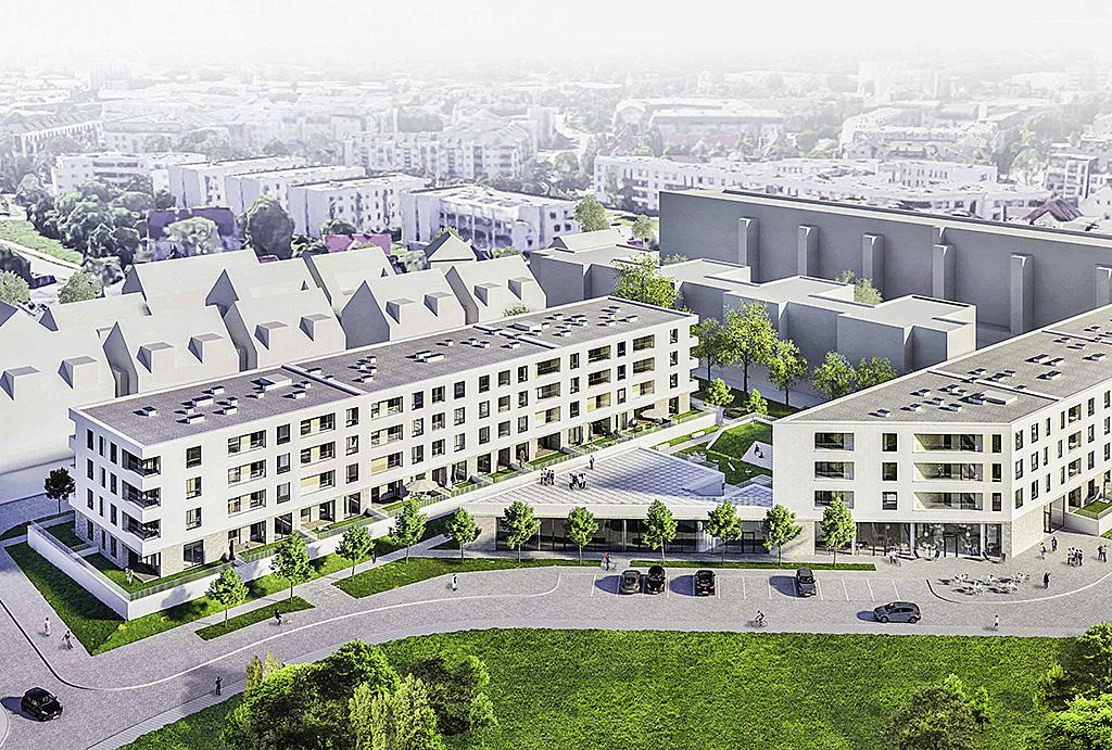 zdjęcie z lotu ptaka pokazujące całe osiedle, na którym mieści się oferowane na sprzedaż mieszkanie Wrocław Krzyki