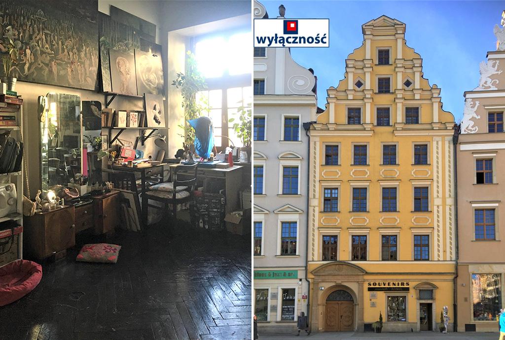 po lewej salon, po prawej kamienica na rynku, gdzie znajduje się oferowane do sprzedaży mieszkanie Wrocław Stare Miasto