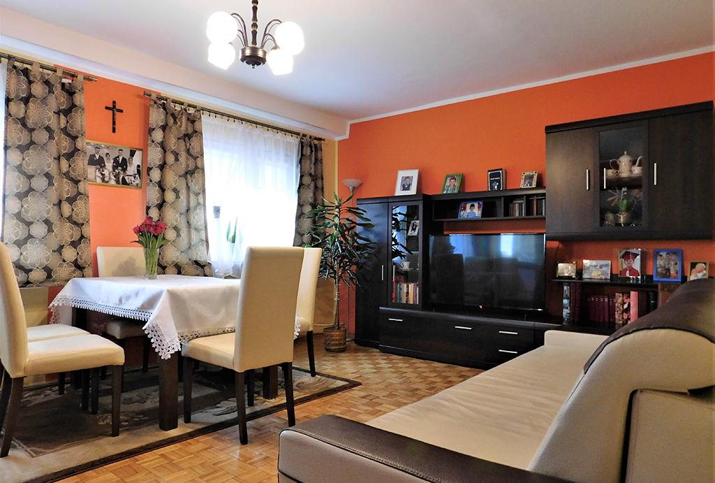 komfortowy salon w mieszkaniu na sprzedaż Wrocław (okolice, Oława)