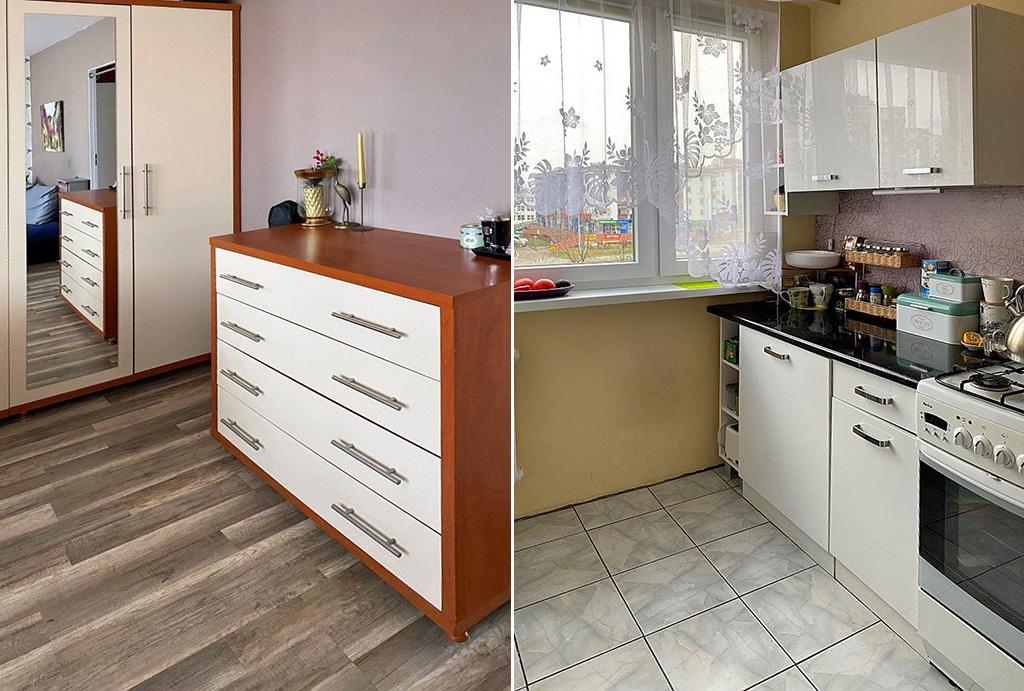 widok na pokój oraz kuchnię w mieszkaniu na sprzedaż Wrocław Fabryczna