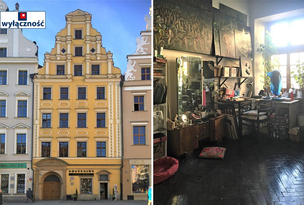 widok na salon oraz kamienicę, gdzie mieści się oferowane na sprzedaż mieszkanie Wrocław Stare Miasto