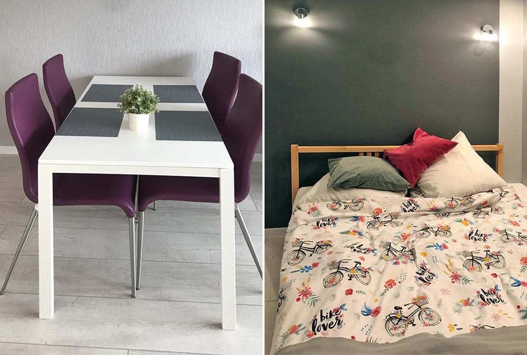 po lewej jadalnia, po prawej sypialnia w mieszkaniu na wynajem Wrocław Fabryczna