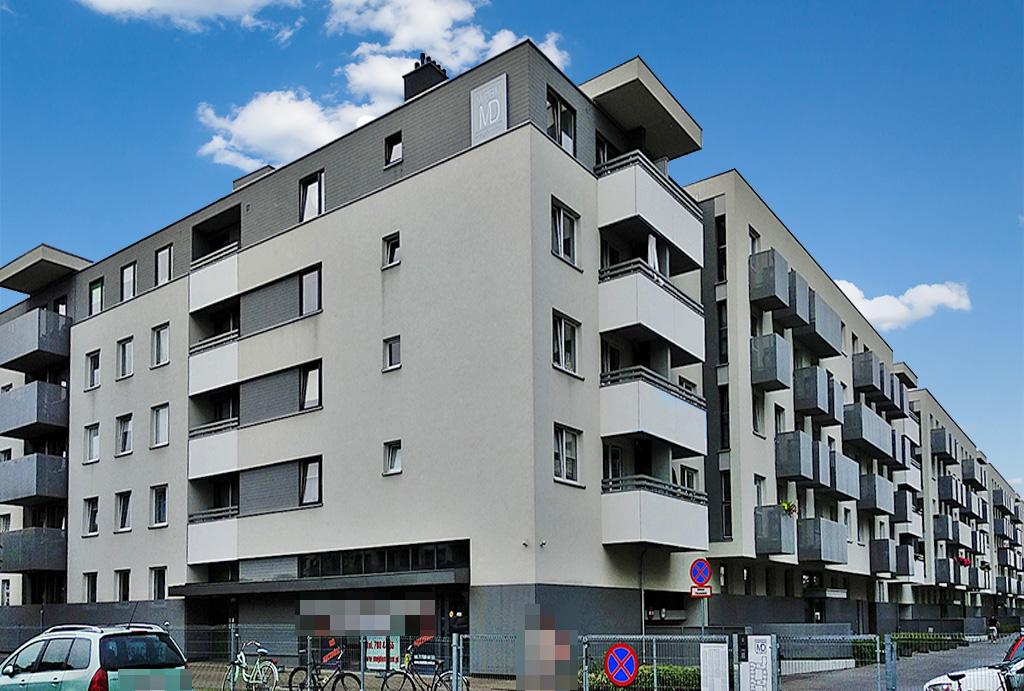 widok na apartamentowiec, w którym znajduje się oferowany na wynajem apartament Wrocław