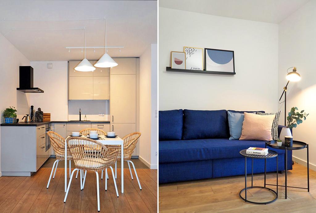 po lewej aneks kuchenny, po prawej salon w apartamencie do wynajmu Wrocław Psie Pole
