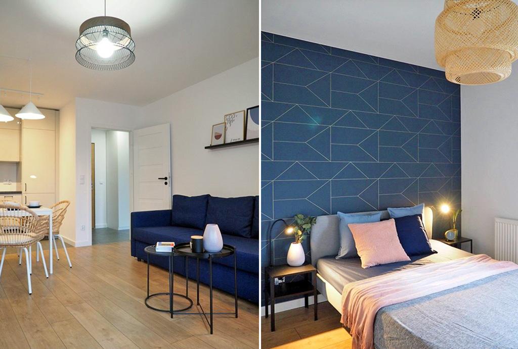 fragment sypialni oraz pokoju dziennego w apartamencie na wynajem Wrocław Psie Pole