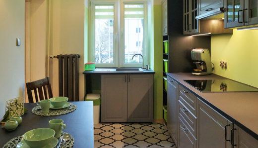 kuchnia w praktycznej zabudowie w mieszkaniu na sprzedaż Wrocław Śródmieście