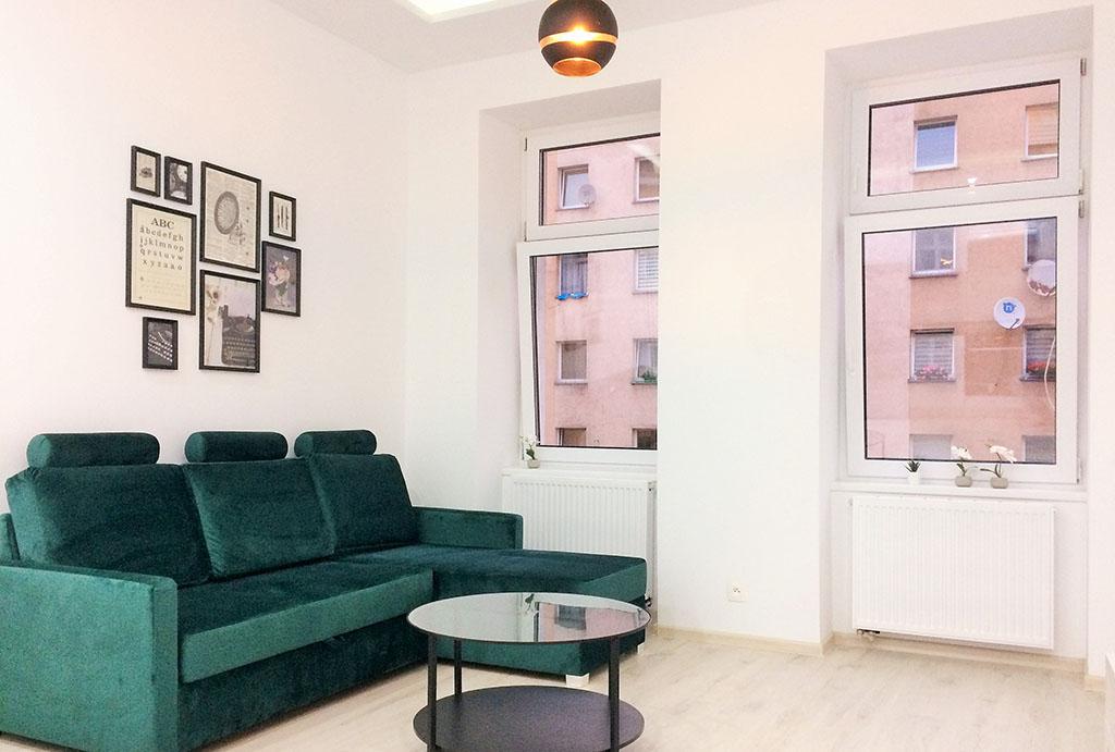 komfortowy salon w mieszkaniu do wynajęcia Wrocław Krzyki