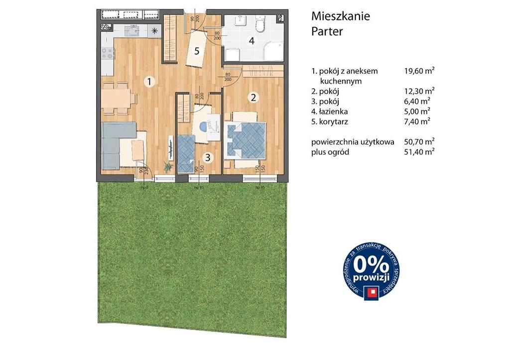 plan rozmieszczenia pokoi w mieszkaniu na sprzedaż Wrocław Maślice