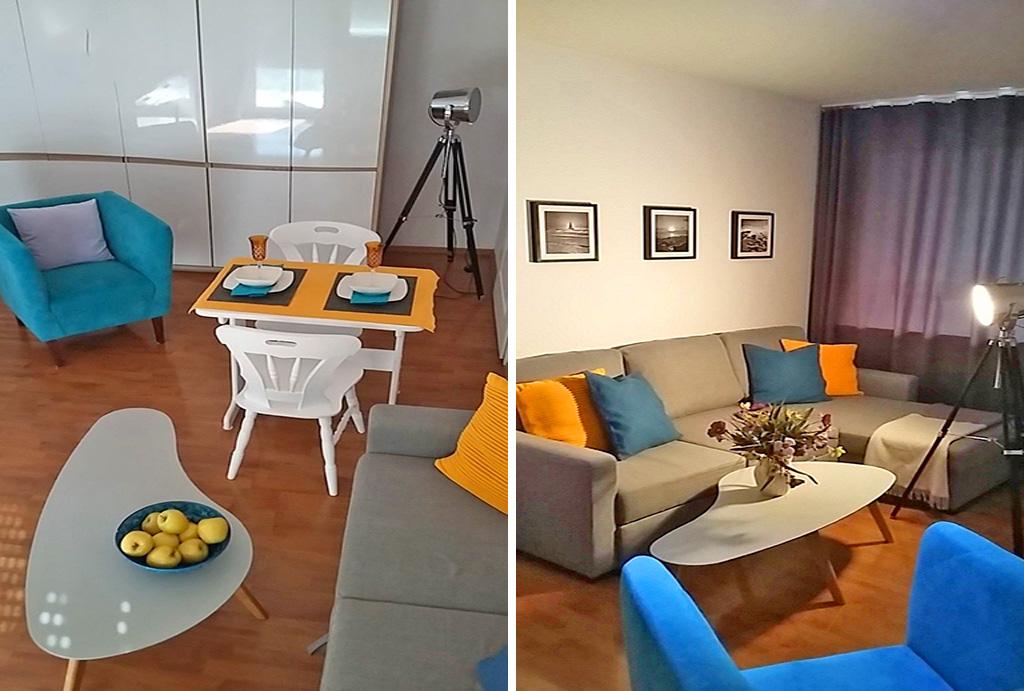 widok na salon w mieszkaniu do wynajmu Wrocław Biskupin