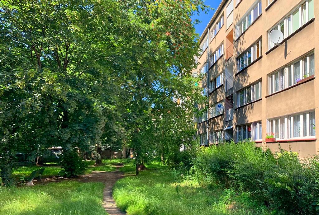 zielone osiedle, na którym znajduje się oferowane do sprzedaży mieszkanie Wrocław Stare Miasto