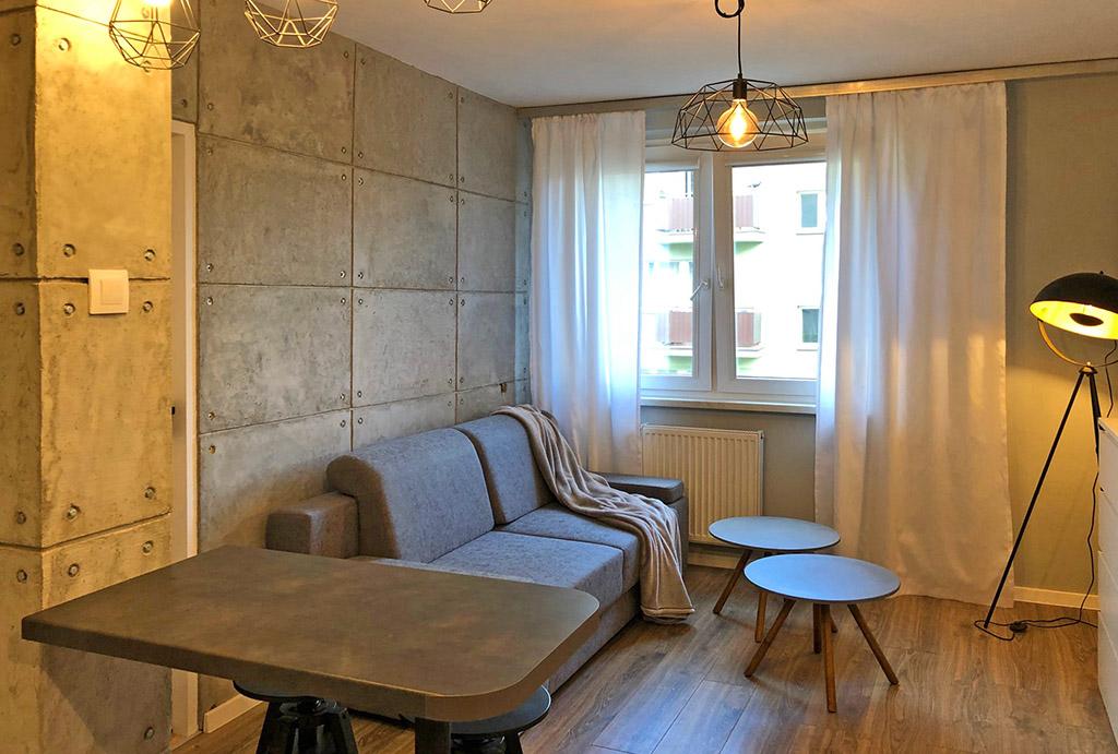 kameralny salon w mieszkaniu do wynajęcia Wrocław (okolice, Oława)