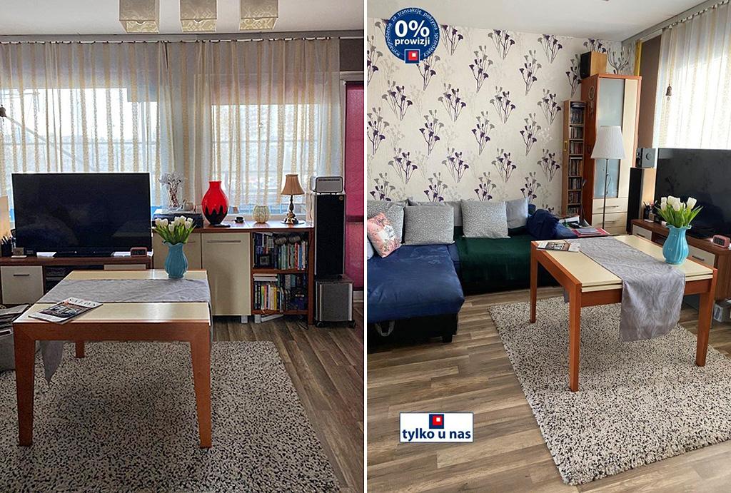 na pierwszym planie pokój dzienny w mieszkaniu na sprzedaż Wrocław Fabryczna
