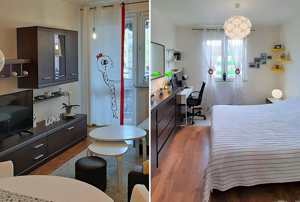 po lewej salon, po prawej sypialnia w mieszkaniu do sprzedaży Wrocław Fabryczna
