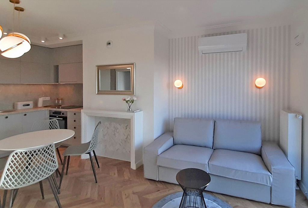 stylowy pokój dzienny w mieszkaniu do wynajmu Wrocław Fabryczna