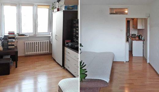 po lewej salon, po prawej hol w mieszkaniu na wynajem Wrocław Krzyki