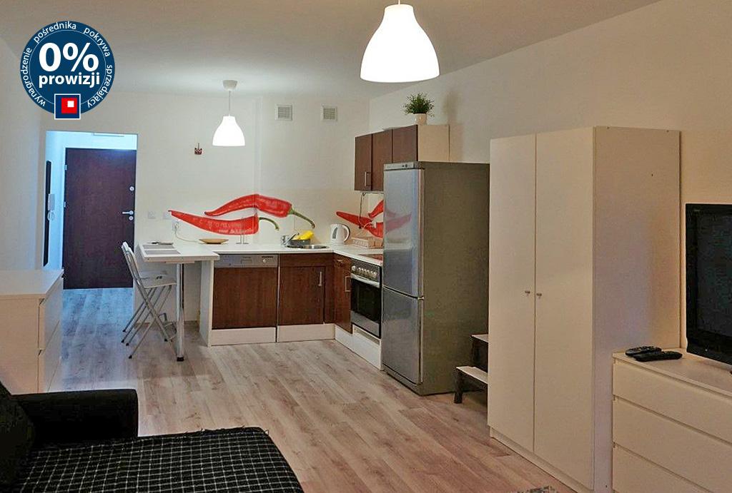 widok z salonu na aneks kuchenny w mieszkaniu do wynajmu Wrocław Krzyki