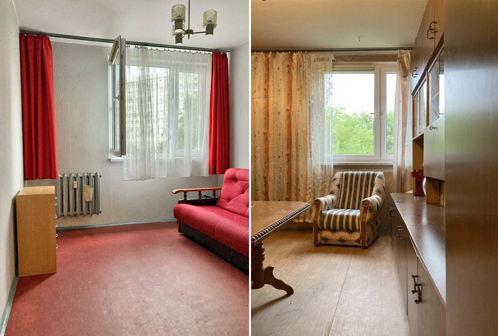 dwa ujęcia salonu w mieszkaniu do sprzedaży Wrocław Psie Pole