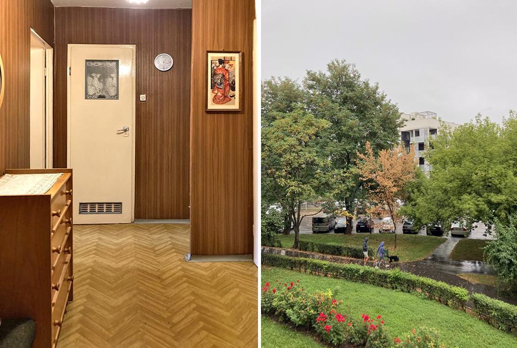 przedpokój oraz widok z okna oferowanego do sprzedaży mieszkania Wrocław Psie Pole