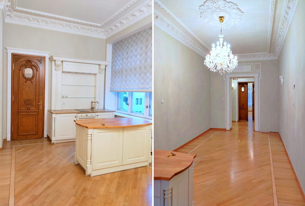 po lewej kuchnia, po prawej salon w mieszkaniu na sprzedaż klasyczne wnętrze mieszkania do sprzedaży Wrocław