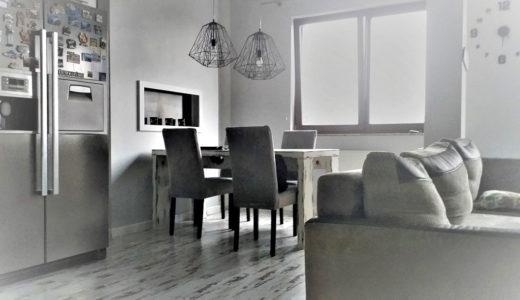 nowoczesny salon w mieszkaniu do sprzedaży Wrocław (okolice)