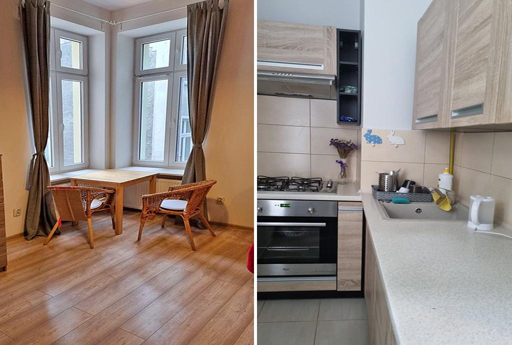 po lewej salon, po prawej kuchnia w mieszkaniu do wynajęcia Wrocław